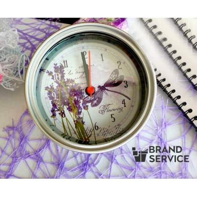 Часы на магните консервная банка с логотипом