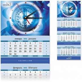 Стеклянные часы с квартальным календарем