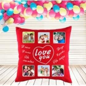 Красная подушка с фотогрифиями