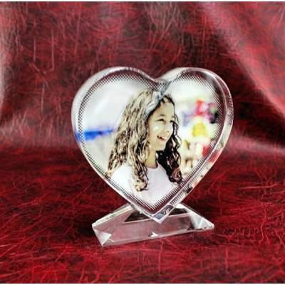 Подарок на 14 февраля | Сердце кристалл с фотографией