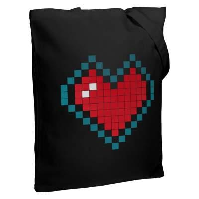 Холщовая сумка Pixel Heart, черная
