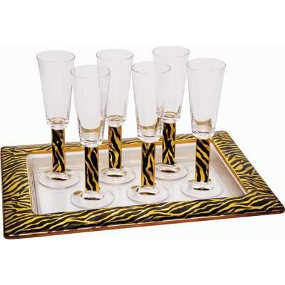 Купить На6ор «Зебра»: 6 бокалов для шампанского, поднос с нанесением 9900р.