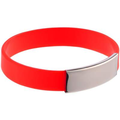 Силиконовый браслет Brisky с металлической шильдой, красный