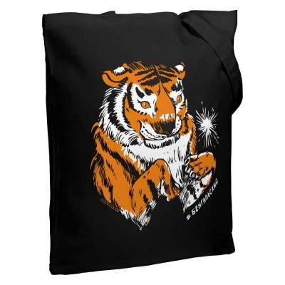 Холщовая сумка «Бенгальский» со светящимся принтом, черная