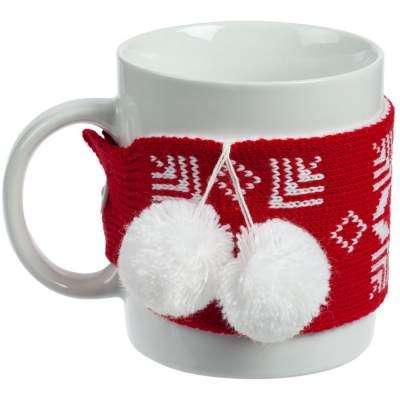 Кружка с манжетой «Снежинки», красная