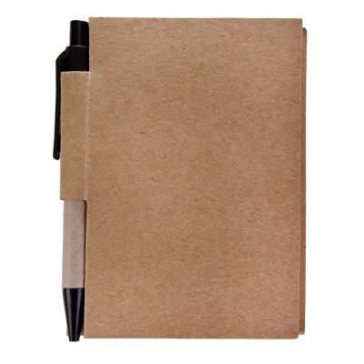 Купить Мини-блокнот Eco Light c ручкой с черными элементами с нанесением 88р.