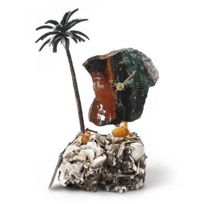 Купить Часы «Пальмовый рай» из яшмы с бронзой с нанесением 16656р.