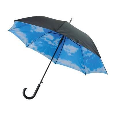 Зонт-трость Облака полуавтоматический с двухслойным куполом, черный /белый /голубой