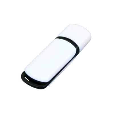 Флешка промо прямоугольной классической формы с цветными вставками, 4 Гб, белый/черный