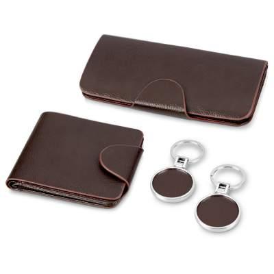 Набор: портмоне дорожное, портмоне с отделениями для кредитных карт, 2 брелока