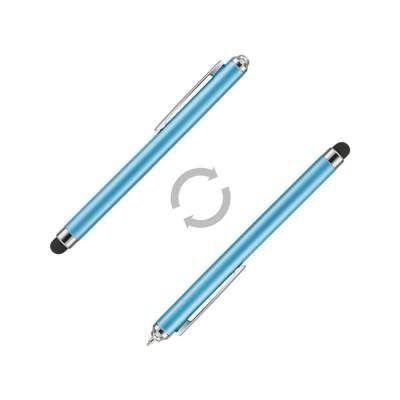 Ручка шариковая Nilsia со стилусом, голубой, черные черный чернила