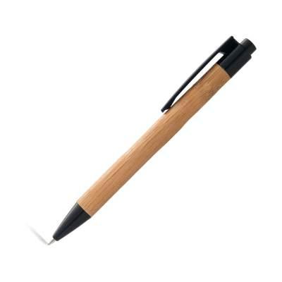 Ручка шариковая Borneo из бамбука, черный, черные чернила