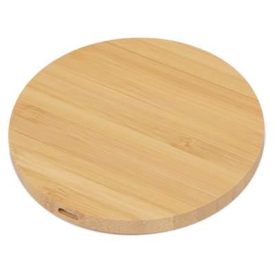 Беспроводное зарядное устройство из бамбука Cap, натуральный