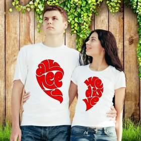 """Парные футболки """"Сердце пополам"""""""