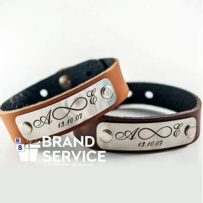 Кожаные браслеты с гравировкой под заказ