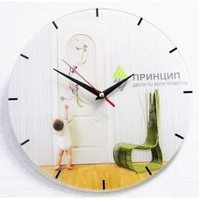 Стеклянные часы с логотипом D 280 мм