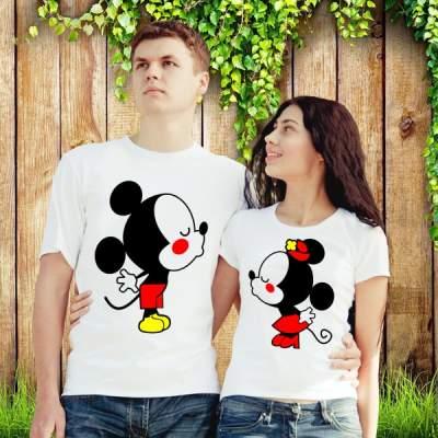Парные футболки Влюбленные Микки Маусы