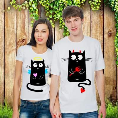 Парные футболки Довольные кошечки