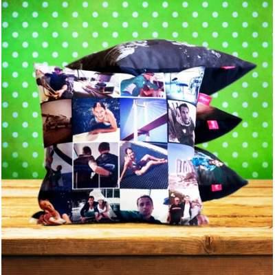 Черная подушка с коллажем фотографий